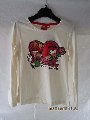 New Angry Birds Girls Long Sleeve Top In Cream.