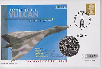 Gb Return Of The Vulcan Coin Cover Pnc Falkland Islands Crown 2007