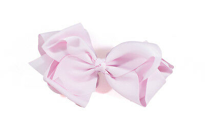 Unit of 10 Extra Large 5 Inch Ice Pink Hair Bow on Clip Grosgrain