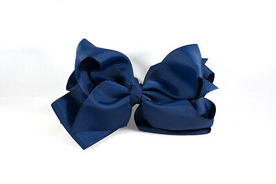 Unit of 10 Extra Large 5 Inch Navy Hair Bow on Clip Grosgrain