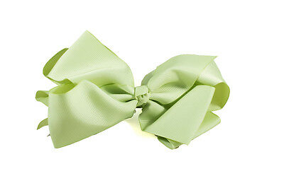 Unit of 10 Extra Large 5 Inch Pistachio Green Hair Bow on Clip Grosgrain