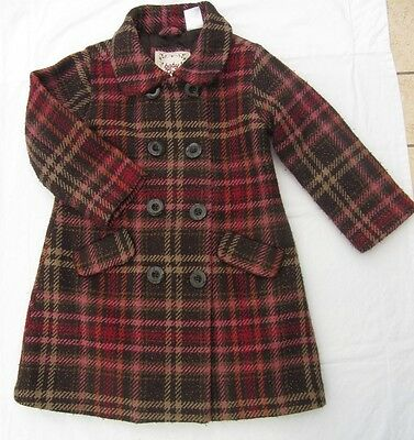 BABY GAP Girls Long Winter Classic Double Breasted Coat Jacket Wool Mix Age 3