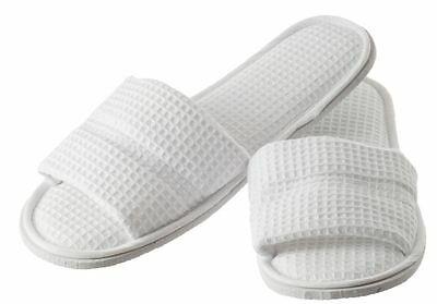 Hydrea London White Waffle Cotton Spa Slippers SLP