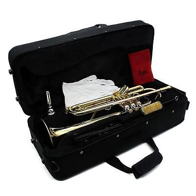 Trumpet Bb B Flat Brass Beginner with Mouthpiece Cleaning Brush Glove Case V1O2
