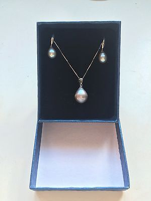 Silver Pearl Droplet Sterling Silver Necklace and Earrings Set