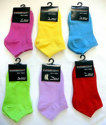 12 Pairs Kids Solid Color Ankle No Show Socks