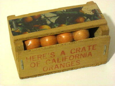 Vintage Crate of Oranges California Souvenir Mail Gag. Tiny wood box with candy