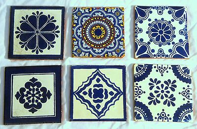 "Lot of 6 handpainted Talavera Mexican tiles, 4"" square, white/blue pottery"