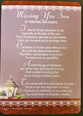 SON CHRISTMAS Grave Card, SON Memorial Card FREE 1st CLASS POST