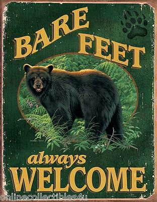 Bear Tin Sign ~ Bare Feet Always Welcome