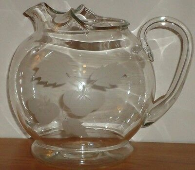 "Small Etched Clear Glass PITCHER 6""H."