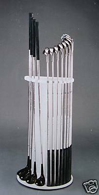 Golf Club Display Rack holds 4 Woods+9 Irons NEW White