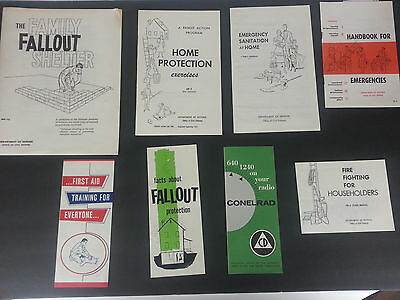 Lot of Nuclear Attack Pamphlets Fallout Protection 1961 Conelrad Dept of Defense