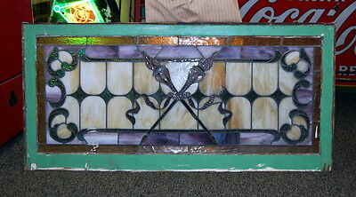 Antique 1890s Crossed Torch Stained Glass, Architectural Salvage, Vintage