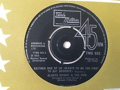 """GLADYS KNIGHT & THE PIPS """"NEITHER ONE OF US"""" on UK TAMLA MOTOWN TMG 855"""