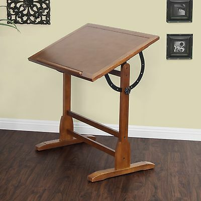 Vintage Drafting Table Wood Desk Adjustable Furniture Design Drawing Station Oak