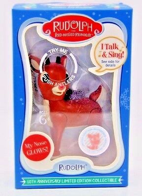 Rudolph The Red Nosed Reindeer Plastic Christmas Holiday Ornament Talk & Sing