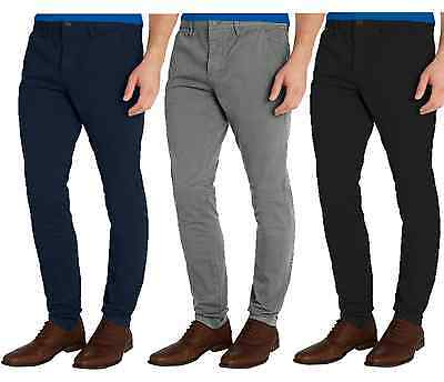 Mens Designer Trousers Chinos Stretch Skinny Slim Fit Jeans All Waist Size 30-40