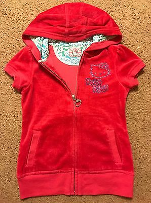Girls M&S Pink Velour Hello Kitty Hooded Zip Up Top Hoodie Age 7-8 128cm VGC