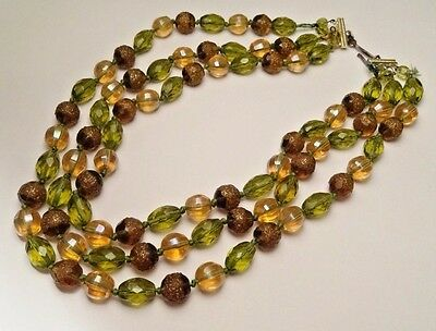 "Vintage Art Deco 3 Strand 14-18""  Inch Faceted Green Glass Bead Necklace"