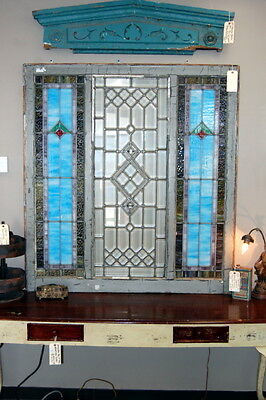 Antique 1910s Arts & Crafts Stained & Beveled Glass Window Architectural Salvage