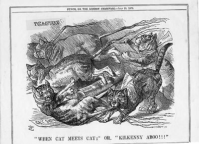 """Cartoon from PUNCH 1879 """"When Cat Meets Cat""""/""""Kilkenny Aboo!!!"""""""