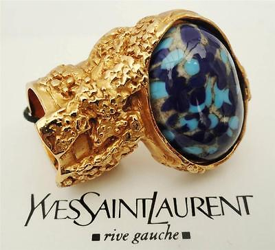 YVES SAINT LAURENT YSL Arty Gold-plated Cocktail Ring SZ5- Boxed