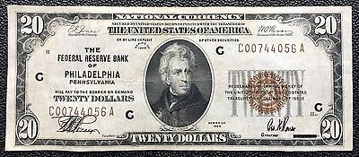 $20 Series 1929 National Currency/ Federal Reserve Note Of Philadelphia, Pa