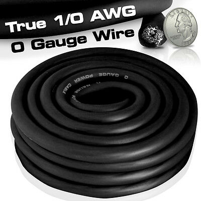 25 Ft True 1/0 0 AWG Gauge Power Ground Wire Cable 25' Black High Quality O GA