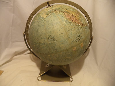 Vintage Replogle 12 Inch Land and Sea Globe Made in USA Usually metal stand