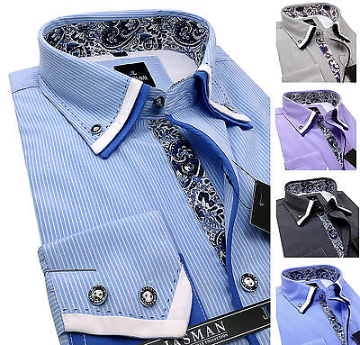 Men's Striped Cotton Shirt Button down Double collar Formal Casual Long sleeve