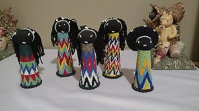5 South African Zulu Hand Made Seed Bead Dolls