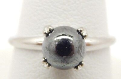 Genuine Sterling Silver 925 7mm Black Freshwater Pearl Solitaire Ring Size 5 1/2