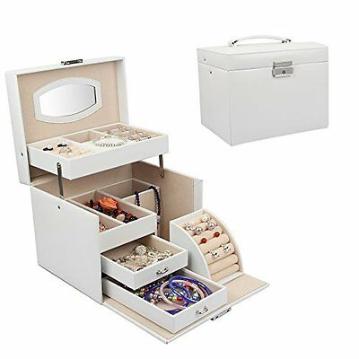 Sungle® Synthetic leather Large Jewellery Box Gift Case 2 drawers, White