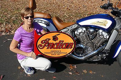Indian Motorcycle Scout Chief Cheiftain Bike Thick Steel Flange Sign Made In Usa