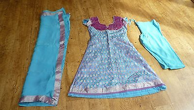 blue silk BN 4-6 punjabi Indian salwar kameez PYJAMI bollywood PY13376