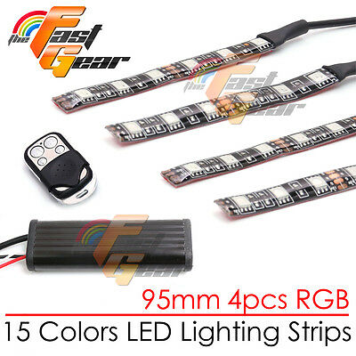 4 Pcs RGB Color 95mm LED Light Strip Universal Fit  Buell Motorcycles