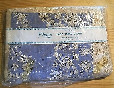 MAgnificent VINTAGE FILIGREE NOTTINGHAM LACE TABLE  CLOTH ENGLAND