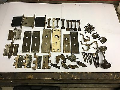 LOT Vintage Door Antique Hardware Reclaimed Salvage hinges plates lockset knob