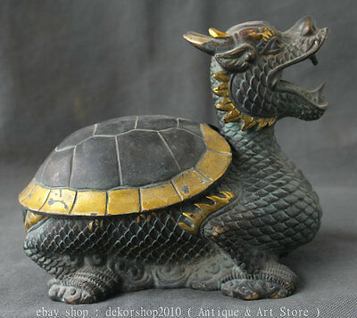 "7.6"" Antique Chinese Bronze Gilt Dragon Tortoise Turtle Statue Zun Longevity Pot"