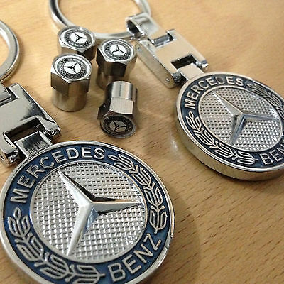 2 Mercedes Chrome Finish Key Rings And Matching Tyre Caps A C E S Class Gl Ml