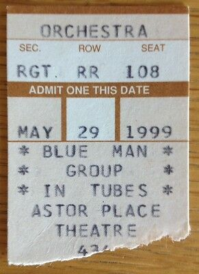 BLUE MAN GROUP-Ticket Stub-New York City-Astor Place Theatre-May 29, 1999