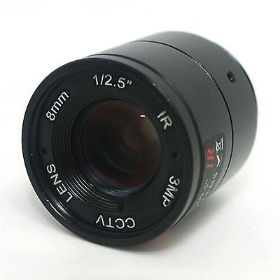 "8mm / F1.4 HD 3MP 1/2.5"" Inch IR Night Vision Lens for CCD CCTV Security Camera."