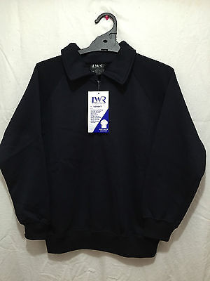 BNWT Boys/Girls Sz 4 LW Reid Navy Long Sleeve Zip Neck School Uniform Jumper