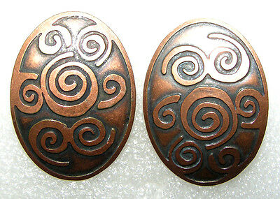 Vintage Modernist Real Copper Clip On Earrings~ Signed: Chico's