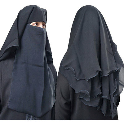 Hayaa 4 Layers Fluttery Butterfly Black Saudi Niqab Hijab Islamic Clothing