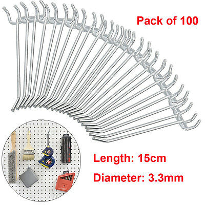 "100pcs 6"" x 1/4"" PEG BOARD HOOKS Shelf Hanger Kit Garage Storage Hanging Set"
