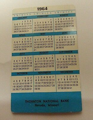 vintage 1964 Thorton National Bank, Nevada, Missouri pocket wallet calander