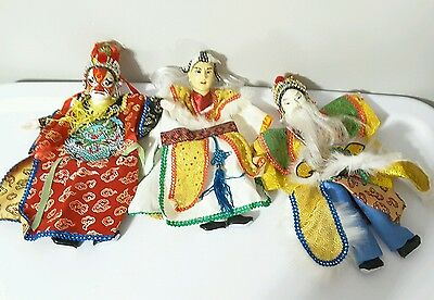 VINTAGE lot of 3 ASIAN Chinese OPERA PUPPETS Beautiful embroidered clothes mask