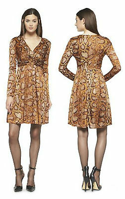 d571aa4fde3 ALTUZURRA for Target Womens Python Print Dress Brown Faux Wrap Crossover  Boho 6